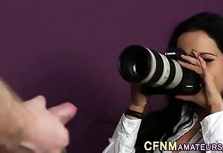 Cfnm spokeswoman acquires cumshot