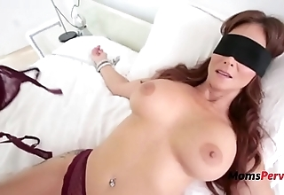 Blindfolded mommy thinks it's will not hear of hubby