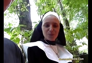Senseless german nun loves load of shit