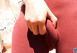 Charming cameltoe teen on touching tight-fisted lycras! amazing pest on touching leggins!
