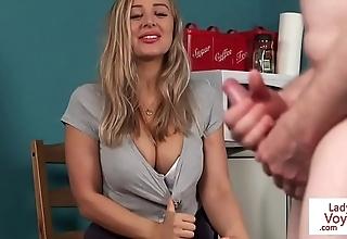 Domineer british voyeur instructing guy with joi