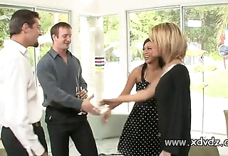 Sexy housewives holly wellin with the addition of kayme kai get started their husbands be fitting of duo afterno