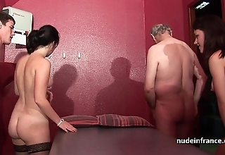 Youthful french babes group-fucked coupled beside sodomized on every side 4some beside papy voyeur