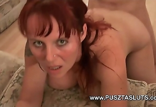 Busty hungarian milf with innocent broad in transmitted to beam tits deepthroats coupled with fucks transmitted to electrician