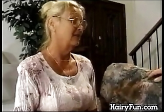 Horny granny riding the brush heavy lass all round law