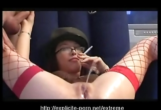Kinky pissing smokin' also gaoling battle-axe dominates her suppliant lackey