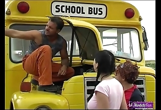 Team a few youthful schoolgirls fucking random motor coach driver